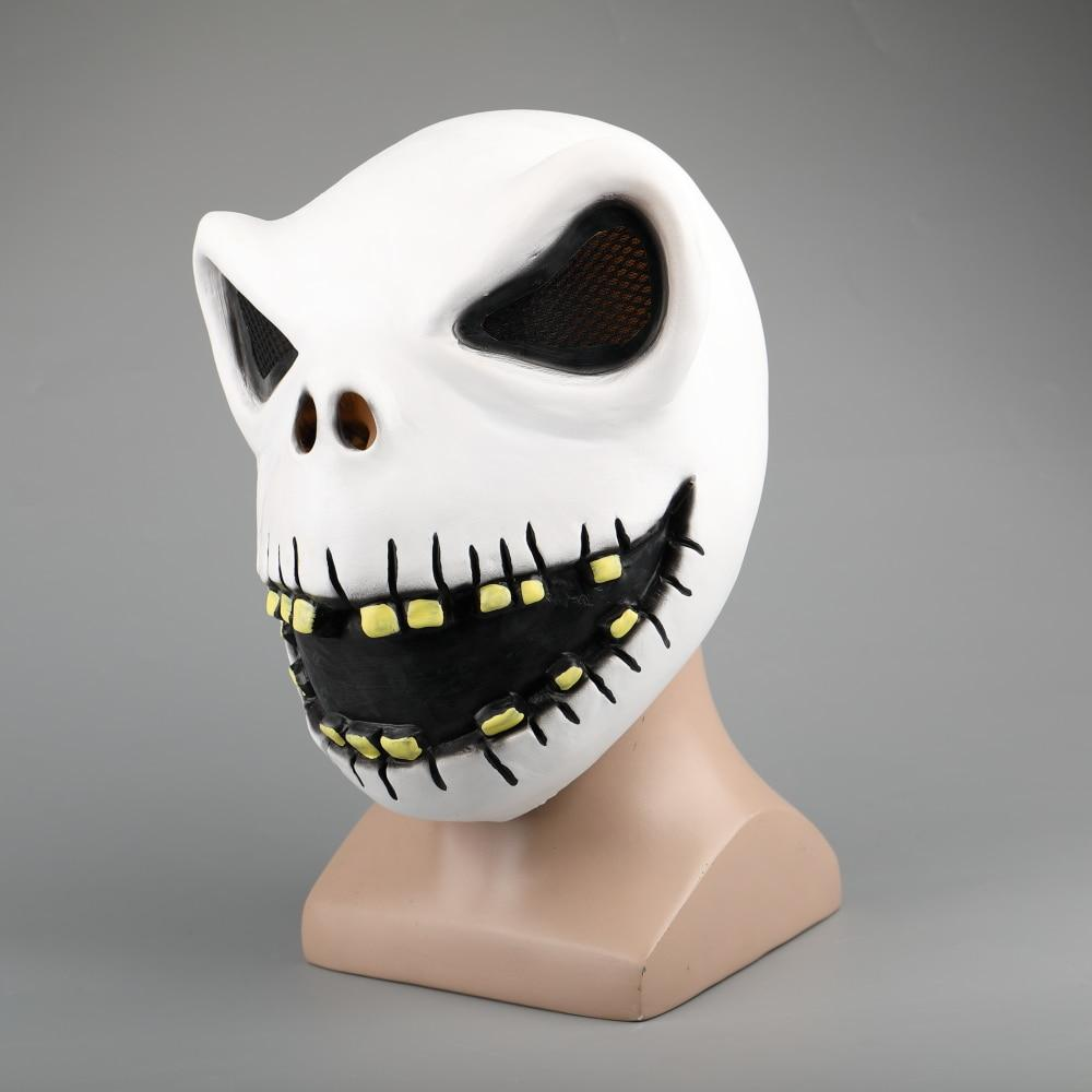 Movie The Nightmare Before Christmas Jack Skellington Cosplay Face Masks Pumpkin King Full Head White Latex Props Halloween Gift - bfjcosplayer