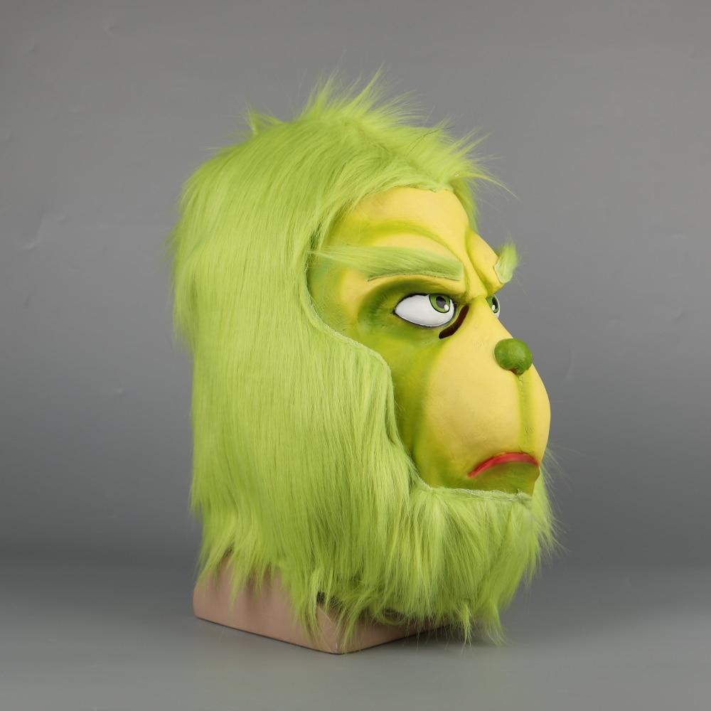 New Sale Grinch Mask Men Women Green Latex Party Cosplay Mask With Further Helmet Headgear Halloween Christmas Accessory - bfjcosplayer