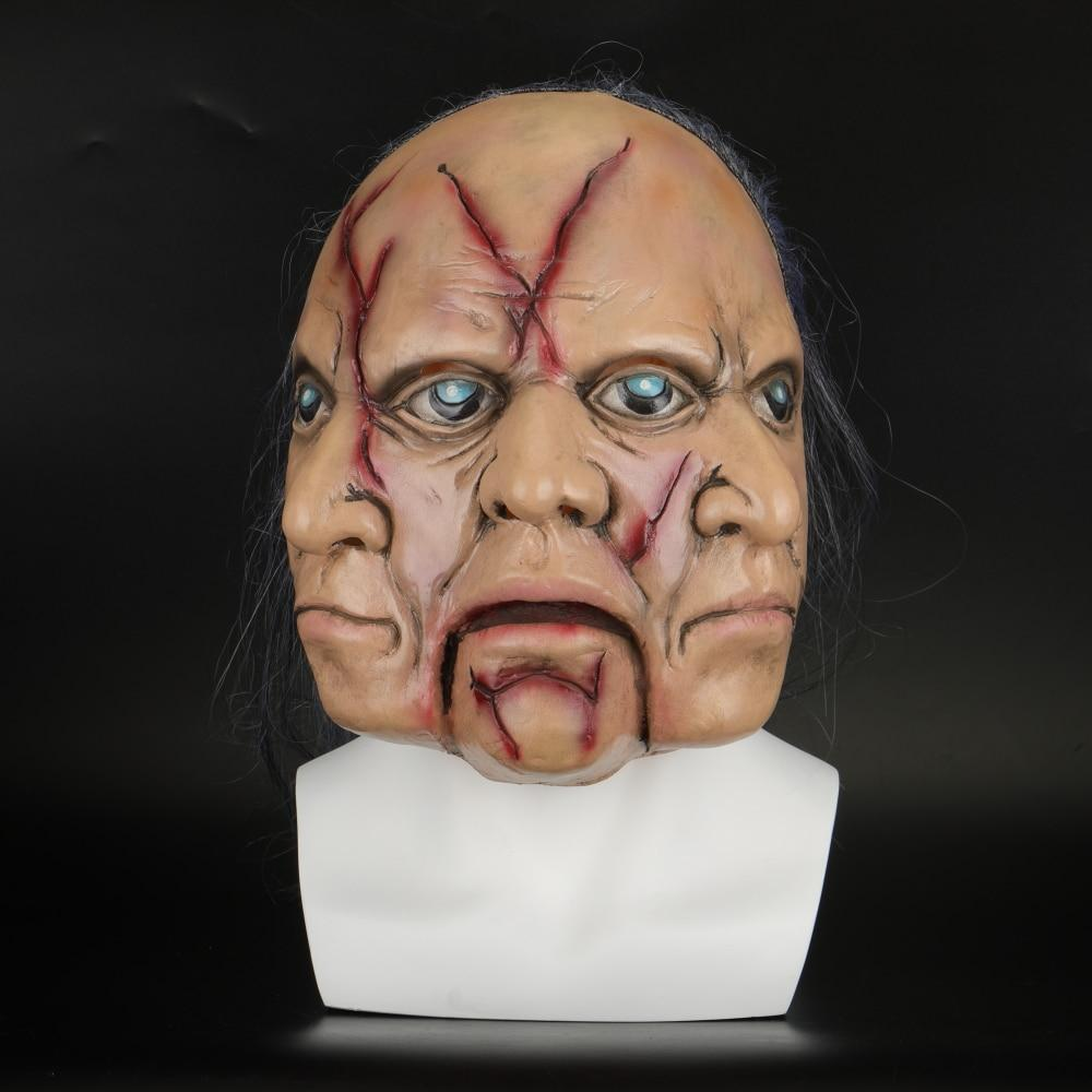 Halloween Masks Latex Party Horrible Scary Prank Three Faces Horror Mask Fancy Dress Cosplay Costume Mask Masquerade - bfjcosplayer