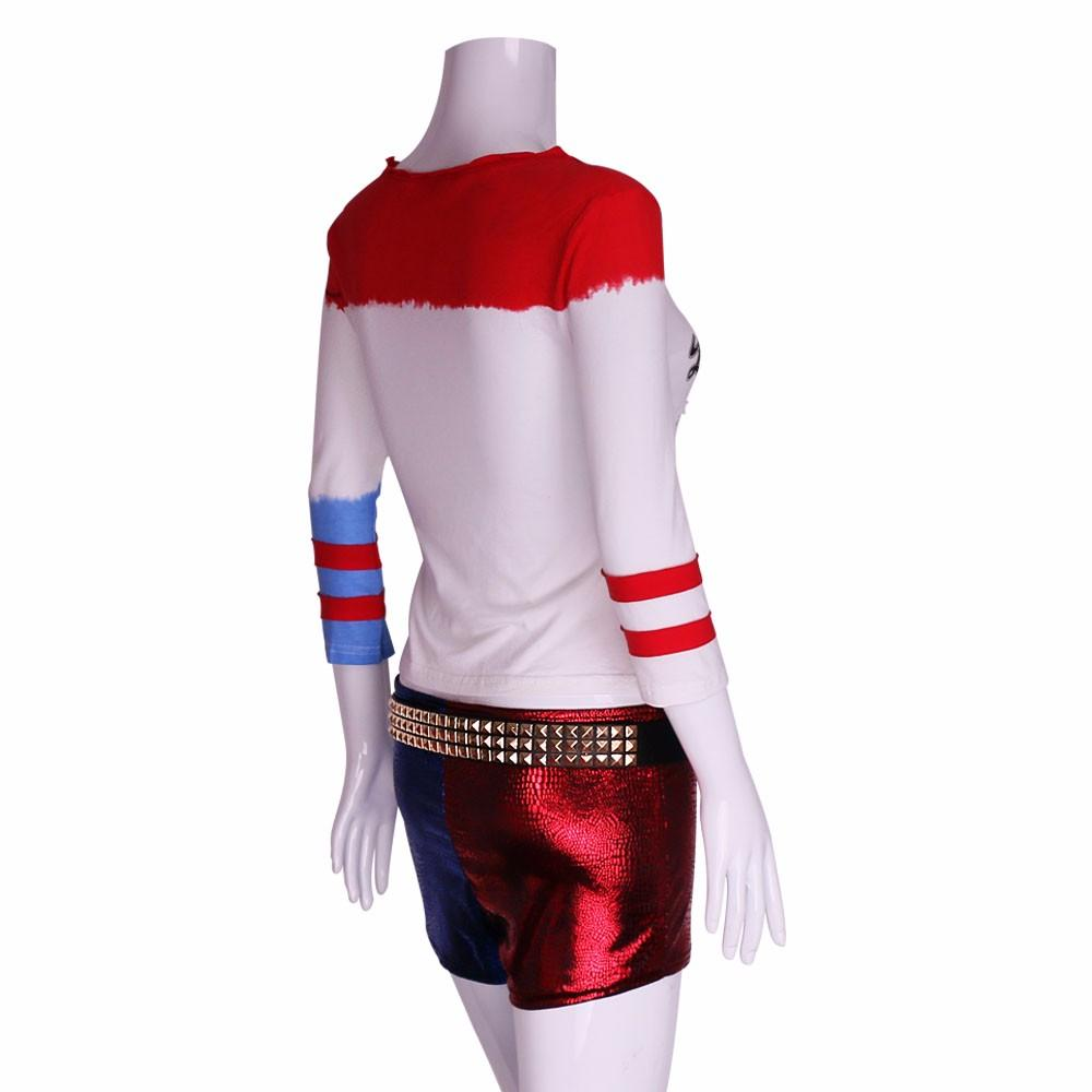 2016 Movie Cosplay Suicide Squad Harley Quinn Costume T Shirt Daddy's Lil Monster T-Shirt Joker Cosplay Costumes Full Set - bfjcosplayer