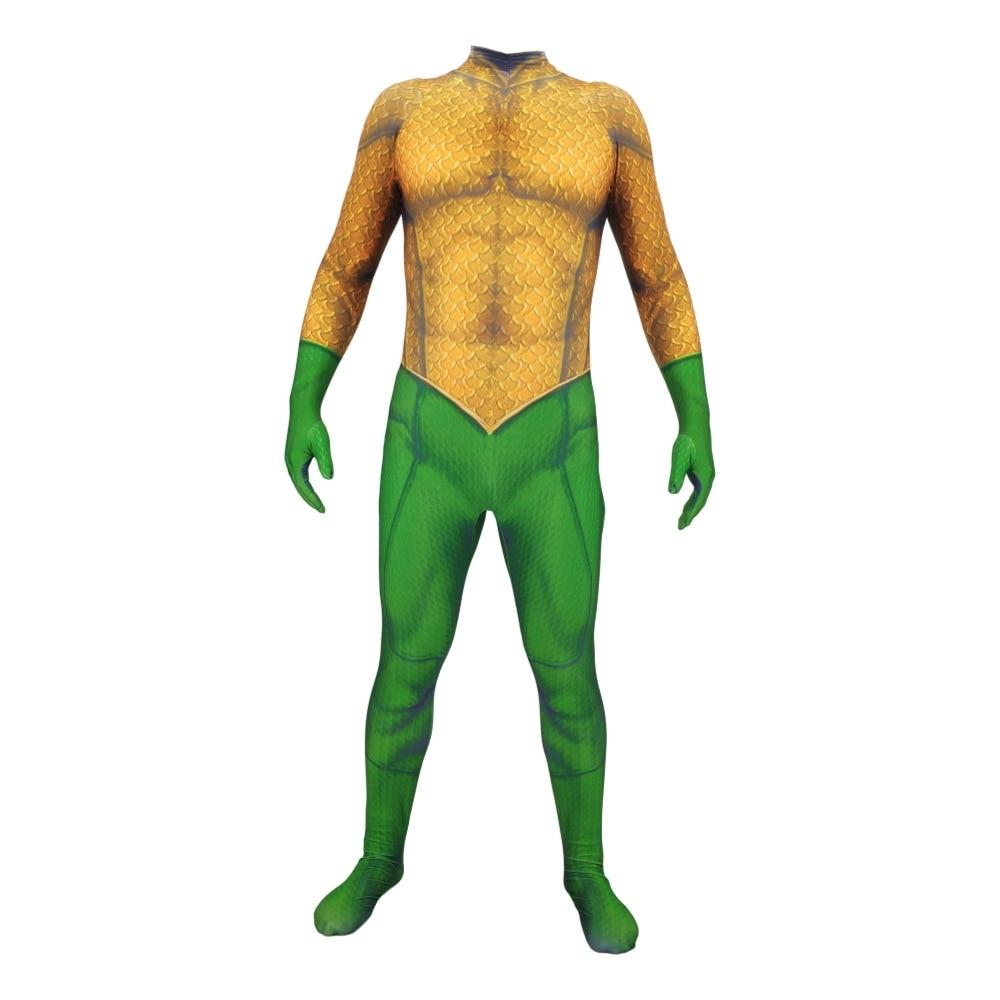 Adult Kids 3D Print Aquaman Costume Jumpsuit Aquaman Arthur Curry Skin Lycra Spandex Cosplay Zentai Suit Halloween Party - bfjcosplayer