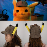 2019 Movie Pokemon Detective Pikachu Cosplay Hats Cute Ears Deerstalker Caps Adult Halloween Props Accessory Gift - bfjcosplayer