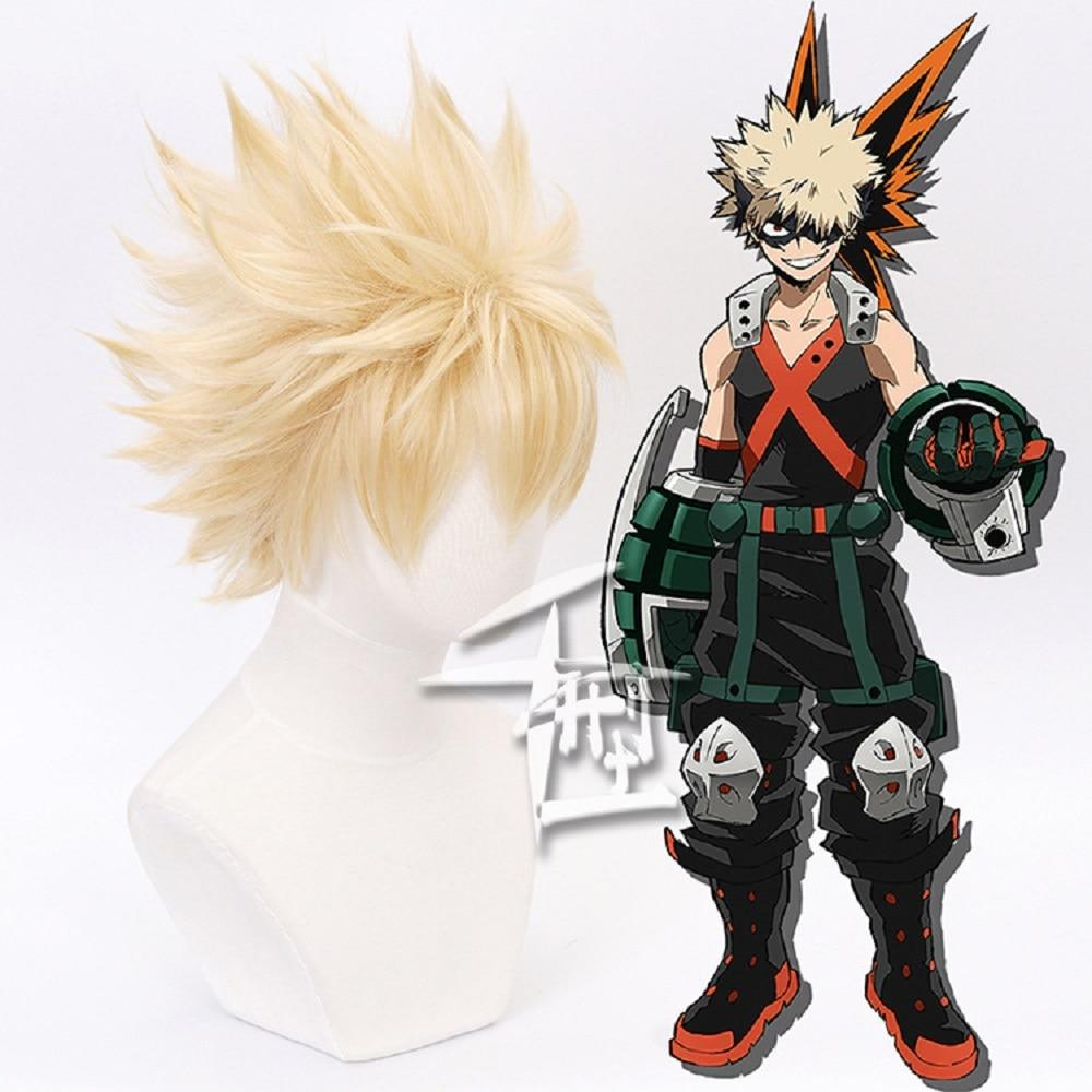 Cosplay Wig My Hero Academia Bakugou Katsuki Bakugo Short Linen Blonde Heat Resistant Baku no Hero Wig - bfjcosplayer