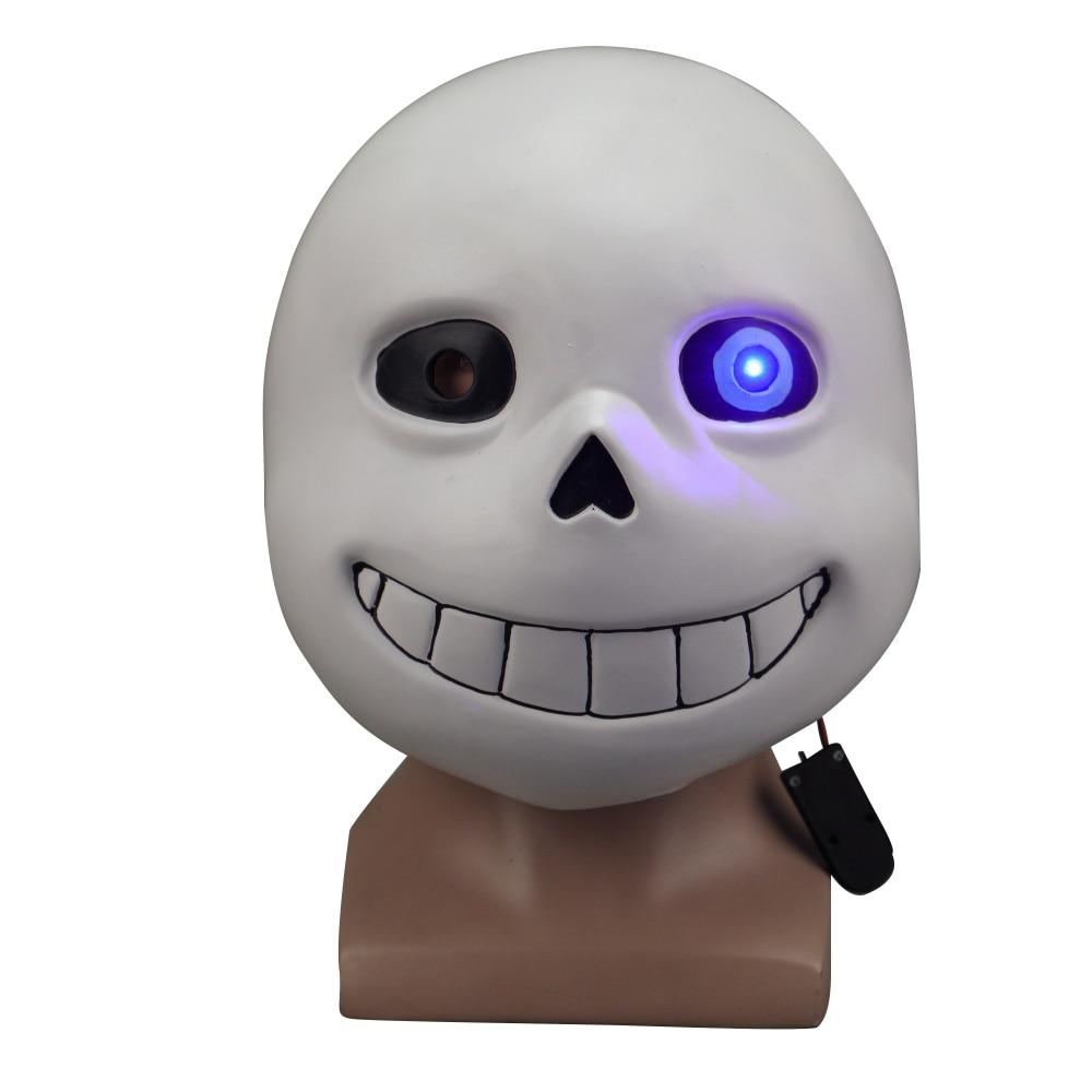 Game Undertale Masks Sans Mask Latex Led Light Full Head Adult Cosplay Mask Halloween Party Prop - bfjcosplayer