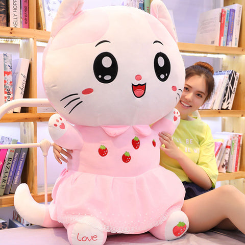 Peluche Chat Rose 80 cm