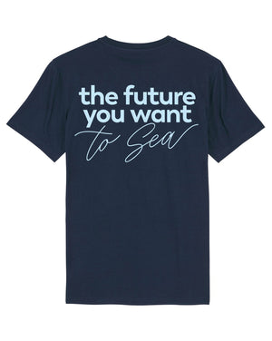 Camiseta vegana azul marino sostenible the future you want to sea