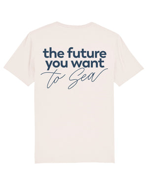 Camiseta vegana blanco vintage sostenible the future you want to sea