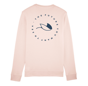 Sudadera vegana sostenible ecológica rosa alongside MantaRay
