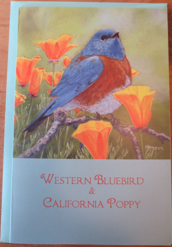 Bluebird and CA Poppy notecard by Keith Hansen