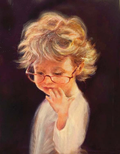 """Sophie in Grandma's Glasses"" Oil on Linen"