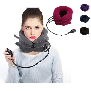 Neck cervical traction device inflatable collar