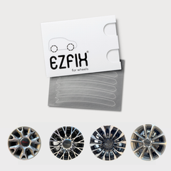 Fiat 500 car wheel rim scratch repair kit in polished metal