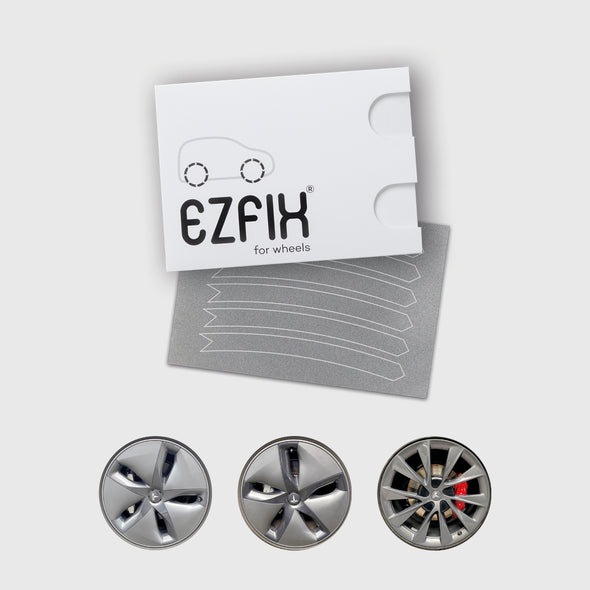 Tesla car wheel rim scratch repair kit in mid grey gloss