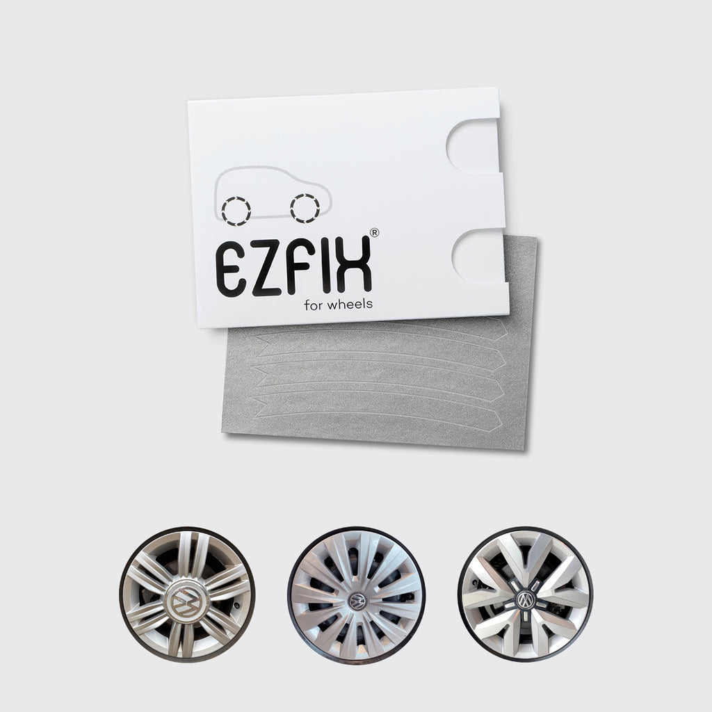 VW car wheel rim scratch repair kit in mercury chrome