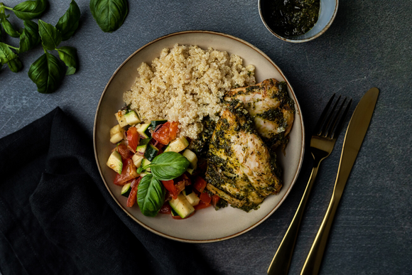 Lemon Basil Chicken & Herb Quinoa And Tomato Zucchini Salad