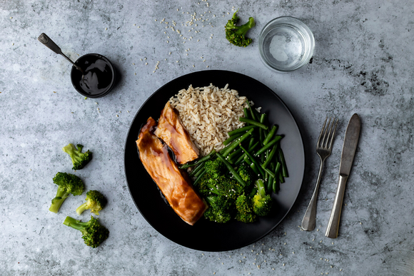 Teriyaki Salmon With Brown Rice And Steamed Broccoli & Haricot Vert