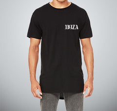 "IBIZA - ON-NA-PAS-LE-TEMPS"" Black Tall Tee - UNISEX"
