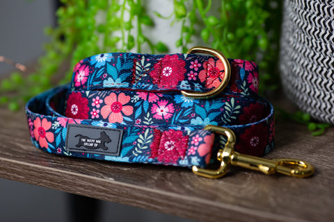 Bright Burgundy Floral Leash