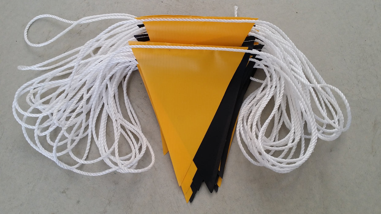Yellow and Black Hi -Vis PVC Bunting Flags 30m