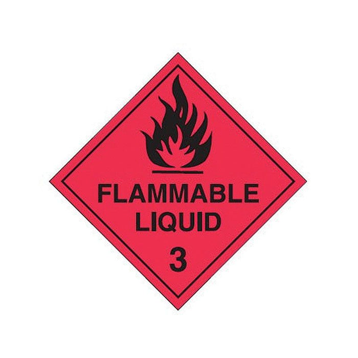 Dangerous Goods Labels - Flammable Liquid 3 - Self Adhesive Vinyl