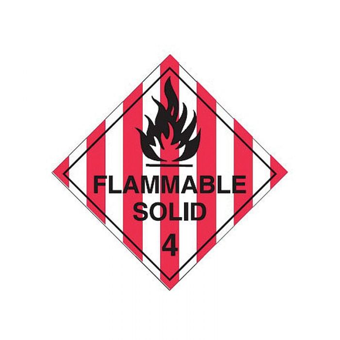 Dangerous Goods Labels - Flammable Solid 4 - Self Adhesive Vinyl
