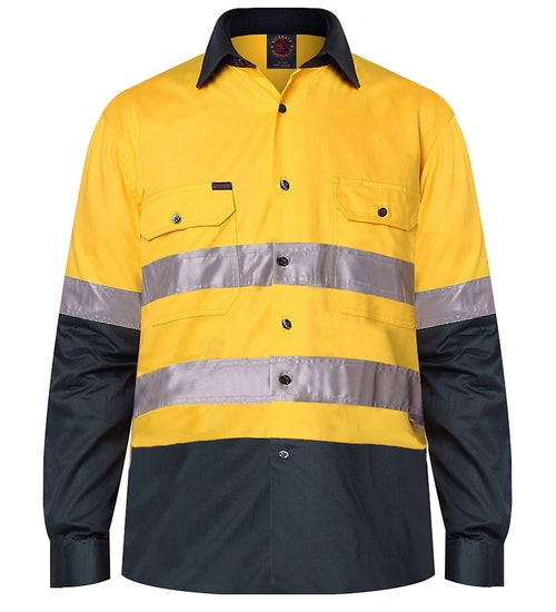 Cotton Drill 2 Tone open front long sleeve shirt with Reflective Tape