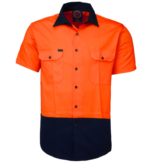 Cotton Drill 2 Tone open front short sleeve shirt Yellow/Navy or Orange/Navy