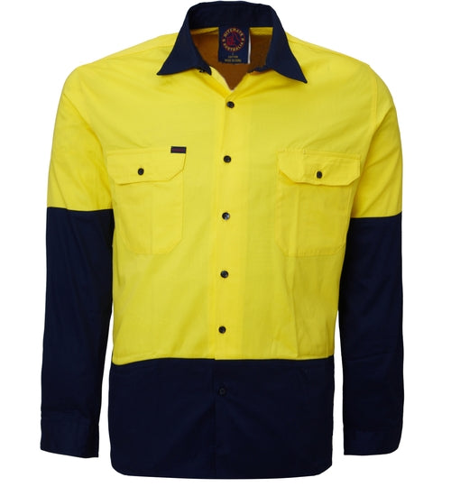 Cotton Drill 2 Tone open front long sleeve shirt Yellow/Navy or Orange/Navy