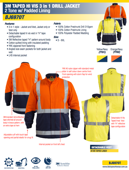 Bisley 3M Taped Hi Vis - 3 in 1 Drill Jacket