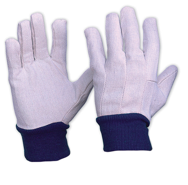 Blue Knit Wrist Cotton Gloves Mens