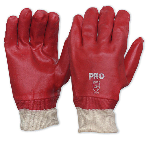 Red PVC Gloves with Knitted Wrist