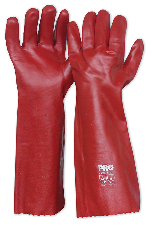 Red PVC Gloves 45cm Length