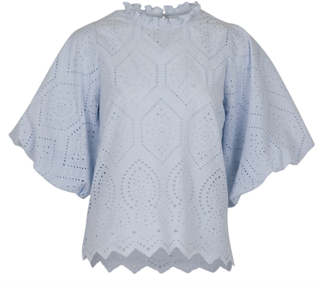 Neo Noir Top Riko Embroidery Blouse 152159 lyse blå