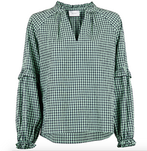 Indlæs billede til gallerivisning Neo Noir Bluse Willow Check 153824 Dusty Green