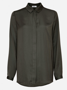 Moss Copenhagen Skjorte Blair Seasonal Polysilk Shirt 14358 Forest Night