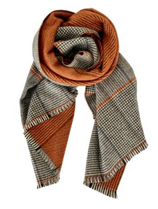 Black Colour Tørklæde Jannie Check Scarf | Orange | Halstørklæde 208102 (Orange)