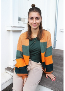 LIBERTÉ Cardigan  - BOBBI CARDIGAN - DARK GREEN STRIPE