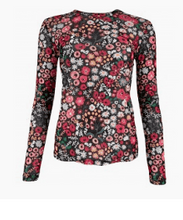 Indlæs billede til gallerivisning Black Colour Blouse- Fiona Blossom Mesh Blouse - Black -
