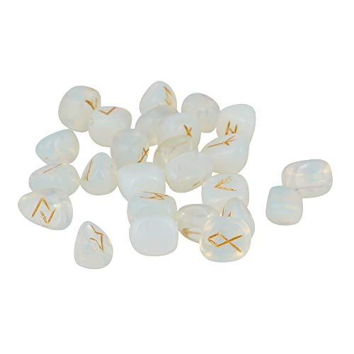Opalite Gemstone Engraved Rune Stone Set with Elder Futhark Alphabets  Size: 15-20 mm