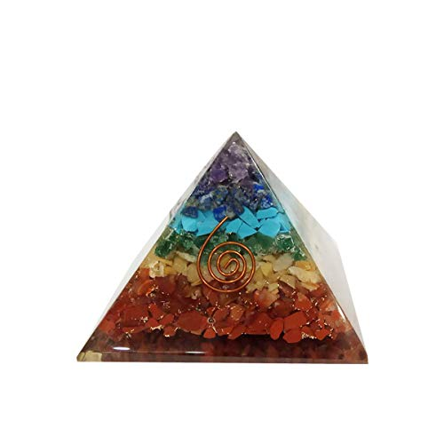 Seven Chakra Orgone Pyramid Crystal Energy Generator Size: 3-3.5 Inch