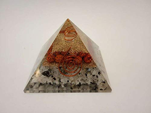 Rudraksh & Rainbow Moonstone Orgone Pyramid Crystal Point Size: 2.5-3""