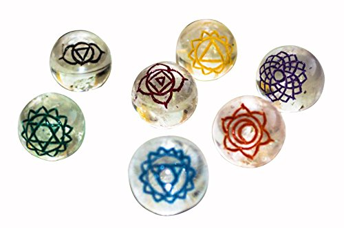 Clear Quartz Gemstone 7 Pcs Engraved Seven Chakra Symbol Ball Shape Stones Size: 20-30 mm