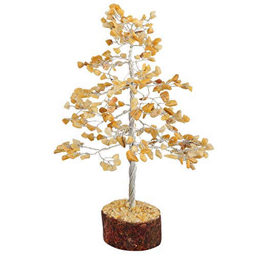 Yellow Aventurine Silver Wire Gemstone Feng Shui Money Tree Size: 10 Inch