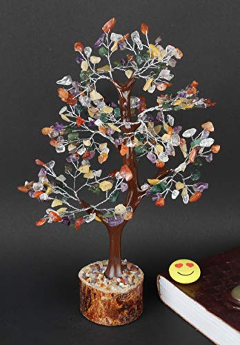 Mix Chakra Gemstone Money Tree Feng Shui Bonsai Size 10-12 Inch (Silver Wire)