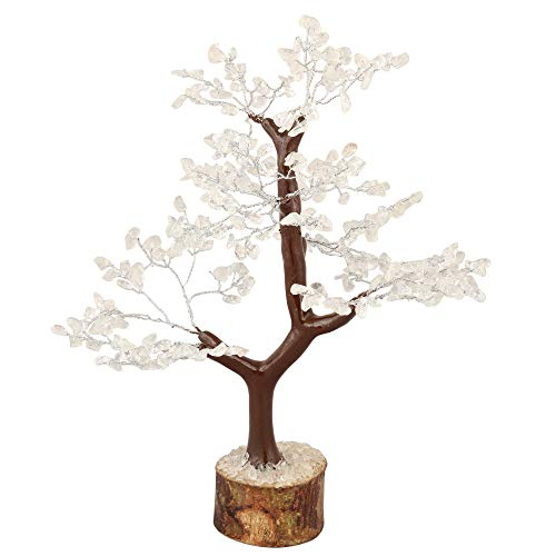 Clear Quartz Gemstone Money Tree Feng Shui Bonsai  Size 10-12 Inch (Silver Wire)