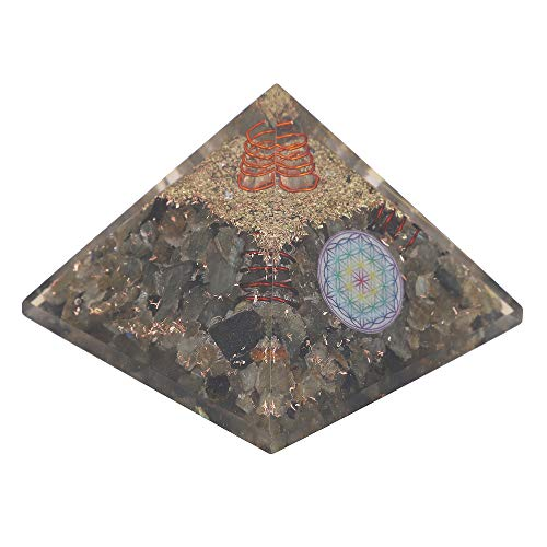 Labradorite Gemstone Orgone Pyramid with Flower of Life Symbol  Size: 2.5-3 Inch