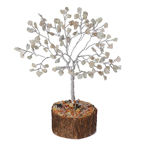 Labradorite Gemstone Bonsai Feng Shui Bonsai Money Tree 7-8 inch (Silver Wire)