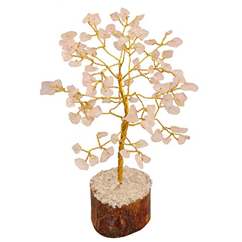 Rose Quartz Gemstone  Feng Shui Bonsai Money Tree Size: 7-8 Inch Golden Wire