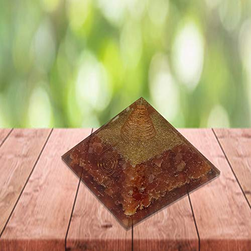 Carnelian Orgone Pyramid for Feng Shui Chakra Balancing Crystal Energy Size: 3-3.5 Inch