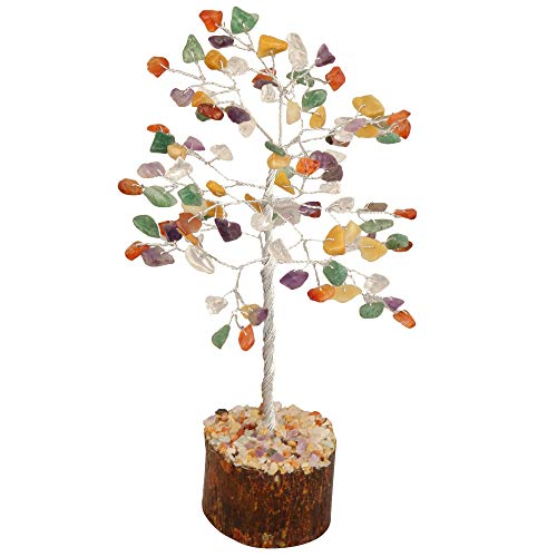 Mix Chakra Gemstone Feng Shui Bonsai Money Tree Size: 7-8 Inch ( Silver Wire )